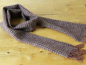ホームスパン・カシミヤプチマフラー(ロング) 赤・青変化織りの画像