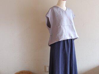 Yさま専用 丈つめ代込み リネン「紫みの紺」88cm丈 の画像