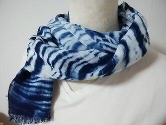 さらっと綿麻の藍染ストールの画像