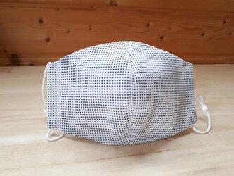なだらか立体マスク[M]*ピンドット(オフ白地)×白の画像
