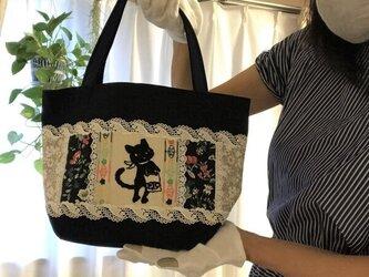 帆布パッチワークバッグ PJC刺繍 黒猫クロッチお出かけトートバッグの画像