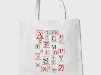 受注制作 ネコさんアルファベット [RED&BACK] トートバッグの画像