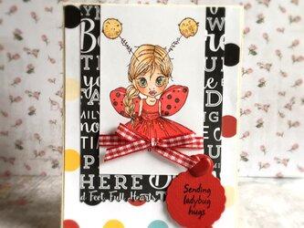 てんとう虫の女の子 ハンドメイドカードの画像