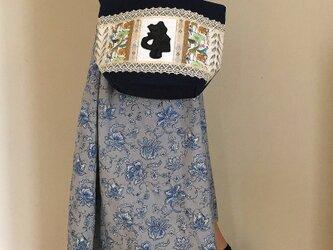 帆布パッチワークバッグ PJC刺繍&リバティ 黒猫クロッチお出かけトートバッグの画像