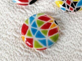 陶器の日本らしい糸手まり 赤と黄緑と水色 スペインタイル 桐箱入の画像