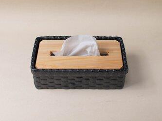 近江一閑張 職人手作り ティッシュペーパーボックス 黒 ティッシュペーパーケース 桧 ヒノキ インテリア雑貨の画像