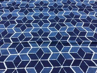 ブロックプリント コットン生地 block print インディゴ 麻柄 藍染の画像