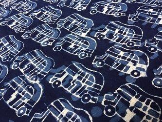 ブロックプリント コットン生地 block print トゥクトゥク リクシャー インディゴ 藍染の画像