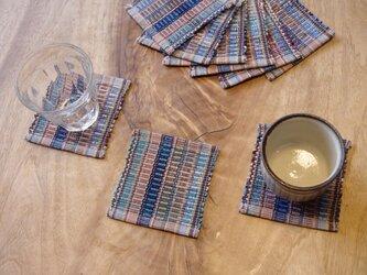 田園カラー・かわいいサイズの裂き織りコースター3枚セット 木綿・手織りの画像