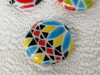 陶器の日本らしい糸手まり 水色と黄色 スペインタイル 桐箱入の画像