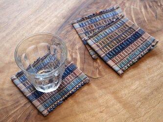 田園カラー・かわいいサイズの裂き織りコースター単品 木綿・手織りの画像