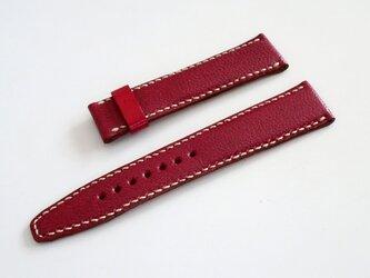 腕時計ベルト Dバックル用 20mm-18mm ハンドメイド ボルドーの画像