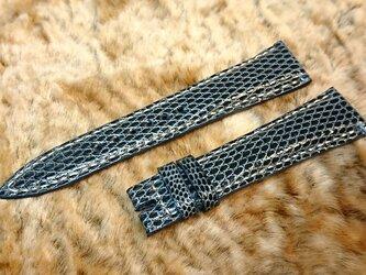腕時計ベルト 20-16mm リザード ブルー #48の画像