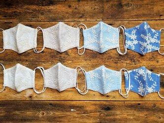 一年中使える可憐な布マスク★オーガンジー刺繍マスク★ワイヤー・予備ゴム付★2サイズの画像