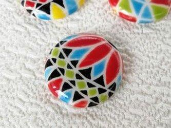 陶器の日本らしい糸手まり 赤と水色 スペインタイル 桐箱入の画像