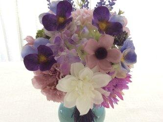 仏花   真珠の涙    菫  (造花、仏壇、お供え、お盆、お彼岸)の画像