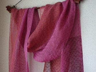 手織りリネンシルクストール・・マゼンダー×ラズベリーの画像