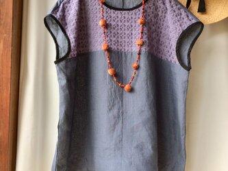 リネン×プルメリア刺繍レースフレンチスリーブ スミレグレー×ネイビーグレーの画像