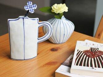 コバルト色の手描きの花瓶 Sの画像