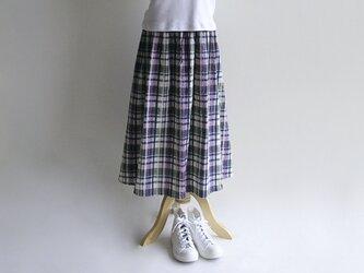 播州織サッカー生地*真夏のギャザースカート(ベージュ×紺×緑×ピンク・チェック柄)送料無料の画像