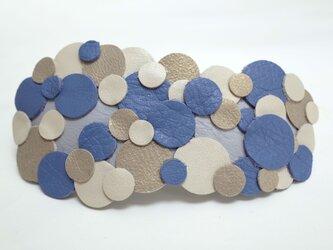 10cm:革バブルバレッタ<ブルー系ミックス>の画像