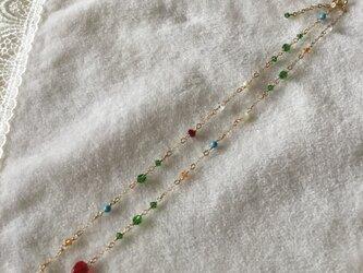 キラキラビーズの大人可愛い金鎖のネックレス N19の画像