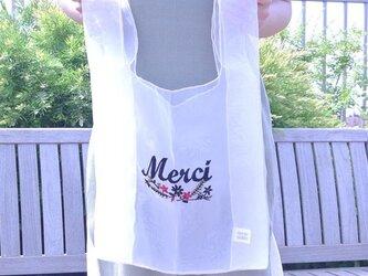受注生産●オーガンジー 刺繍 マルシェバッグ フランス語 ロゴ 花柄●エコバッグ型 シースルー メッシュ素材の画像