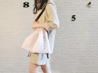 ●シアーピンク●シアー2WAY巾着バッグ ショルダーバッグ  手刺繍●シースルー オーガンジー メッシュの画像