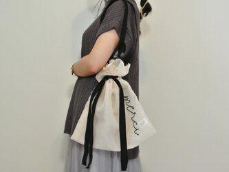 ●ベージュ生成り●シアー2WAY巾着バッグ ショルダーバッグ 手刺繍●シースルー オーガンジー メッシュの画像