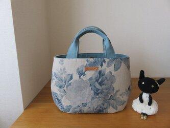 yuwaバラ柄リネン生地のタック底トートバッグの画像