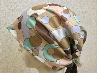 カットソーの夏用ケア帽子   ベージュ系サークル模様の画像