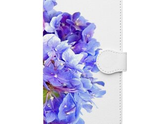 紫陽花のスマホケース手帳型の画像