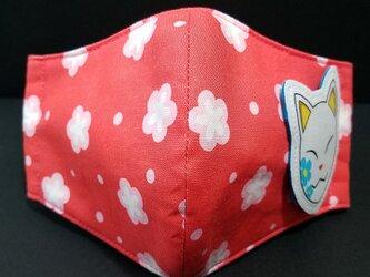 M-000 フェイス 立体 布 インナー マスク ハンドメイド 伝統 和柄 和風 かわいい 梅 文様 狐面の画像