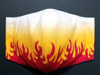 R-000 フェイス 立体 布 インナー マスク ハンドメイド 伝統 和柄 和風 かっこいい ファイヤー パターンの画像