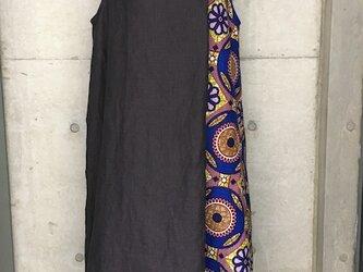 リネン×アフリカンプリント サマードレスの画像