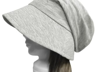 スラブコットンニット/つば広女優帽子(ゆったり)◆杢グレーの画像