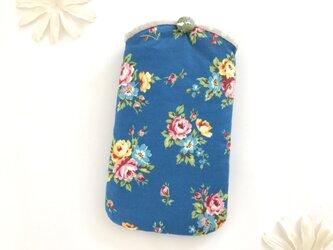 スマホケース 花柄 コバルトブルーの画像
