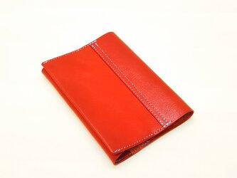【栃木レザー】文庫サイズのブックカバー(赤)カラーオーダー可*受注製作*の画像