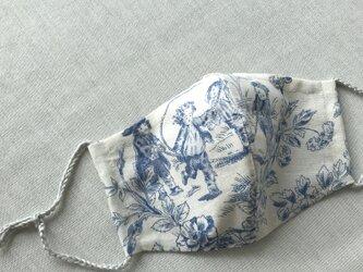 <再出品>パリ購入生地トワル・ド・ジュイ6 立体マスクノーズワイヤーポケット、フィルターポケット付き) 大人Mサイズ 1枚の画像