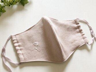 麻素材・レースフラワー白刺繍×グレイッシュラベンダーゴム グレイッシュピンクの画像