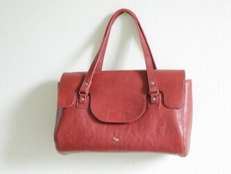 栃木レザー 手縫い haru bag (wine)の画像