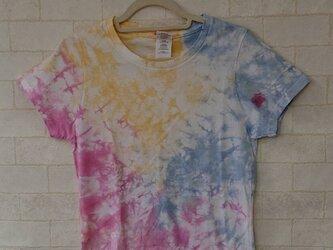 タイダイ染め 不思議なカラフルなもようのレディースTシャツの画像