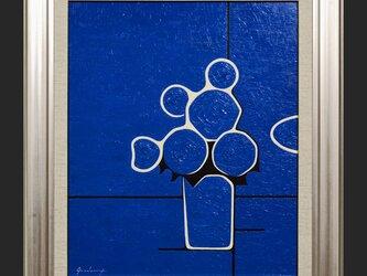 厚塗り油絵◆『青い花』◆がんどうあつし肉筆直筆油彩画絵画F8号シルバー新品額縁付の画像