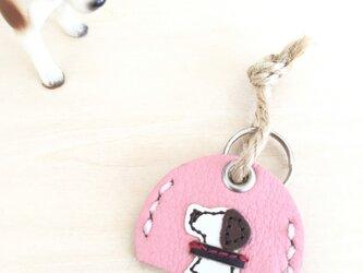 革の鑑札ホルダー(ピンク)の画像