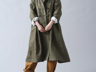 【wafu プレミアムリネン】リネン トレンチコート ワンピース 2way リネンコート 羽織/オリーブ h016a-olv2の画像