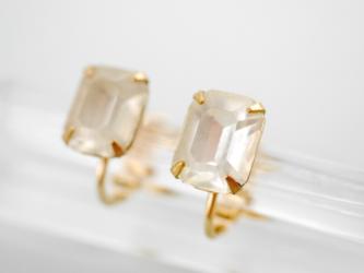 ヴィンテージスワロフスキースタッドピアス/イヤリング  crystalの画像