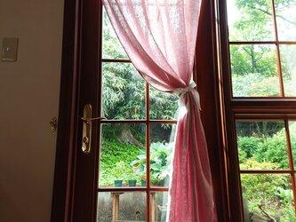 フレンチリネン♪ダスティピンクの片開きカーテン♪リボンクリップ付きの画像