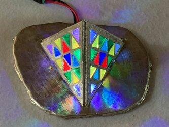 錫のLED照明 ステンドグラススタンド 赤外線リモコン付き  錫台座の画像