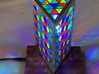 錫のLED照明 ステンドグラススタンド 赤外線リモコン付きの画像