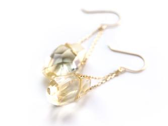 11月誕生石 K10 黄金の光 大粒シトリン(タンブルカット) フックピアス~ESPOIR~の画像